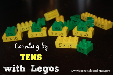 Counting by Tens with Legos is a perfect learning box activity for grade school children to learn their math facts of 10.
