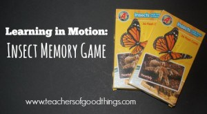 Learning in Motion Insect Memory Game | www.teachersofgoodthings.com