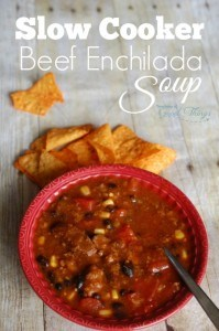 Slow Cooker Beef Enchilada Soup - Easy to put together and delicious! | www.teachersofgoodthings.com