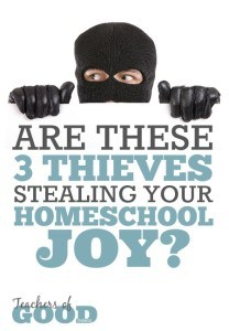 Are These 3 Thieves Stealing Your Homeschool Joy - You may be letting them in and not even realize it! | www.teachersofgoodthings.com